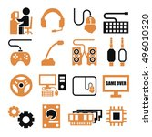 gamer  gaming gear icon set | Shutterstock .eps vector #496010320