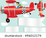 planes and banners. | Shutterstock .eps vector #496012174