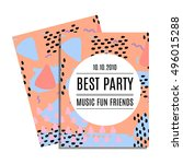 party invitation card with... | Shutterstock .eps vector #496015288