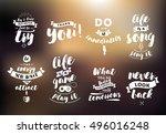 inspirational quotes set.... | Shutterstock .eps vector #496016248