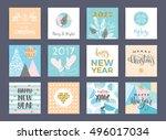 set of artistic creative merry... | Shutterstock .eps vector #496017034