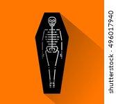 vector halloween funny icon.... | Shutterstock .eps vector #496017940