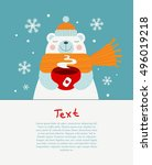 cute bear holding red cup of... | Shutterstock .eps vector #496019218