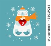 cute bear holding red cup of... | Shutterstock .eps vector #496019266