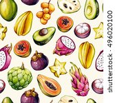 tropical pattern. exotic... | Shutterstock . vector #496020100