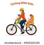 woman cycling with her children ... | Shutterstock .eps vector #496020130
