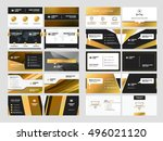 set of elegant double sided... | Shutterstock .eps vector #496021120