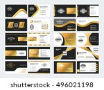 set of elegant double sided... | Shutterstock .eps vector #496021198