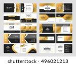set of elegant double sided... | Shutterstock .eps vector #496021213