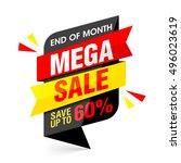 end of month mega sale banner.... | Shutterstock .eps vector #496023619