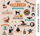 set of happy halloween symbols... | Shutterstock .eps vector #496025113