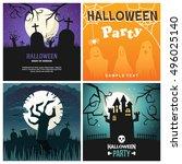 set of retro happy halloween... | Shutterstock .eps vector #496025140