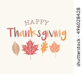 thanksgiving card with autumn... | Shutterstock .eps vector #496028428