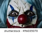 closeup of a scary evil clown... | Shutterstock . vector #496035070
