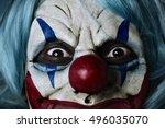 closeup of a scary evil clown... | Shutterstock . vector #496035070