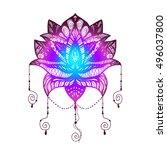 flower lotus. magic symbol for... | Shutterstock .eps vector #496037800