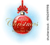 red christmas ball with... | Shutterstock .eps vector #496049998