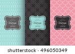 retro chic seamless pattern... | Shutterstock .eps vector #496050349