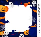 halloween concept banner with... | Shutterstock . vector #496054090