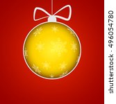 christmas ball cut from paper... | Shutterstock .eps vector #496054780
