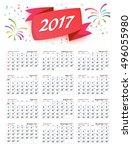 hijri islamic calendar 2017... | Shutterstock .eps vector #496055980