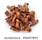 Grilled Beef Chunks Isolated O...