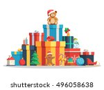 big pile of colorful wrapped... | Shutterstock .eps vector #496058638