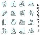 winter games icons set. active...   Shutterstock .eps vector #496062859