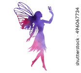fairy with butterfly ... | Shutterstock .eps vector #496067734