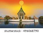 buddhist pagoda  part of temple ... | Shutterstock . vector #496068790