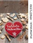 red christmas heart shaped... | Shutterstock . vector #496071550
