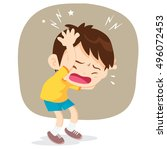 boy have headache pain cartoon... | Shutterstock .eps vector #496072453