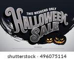 halloween sale. vector... | Shutterstock .eps vector #496075114
