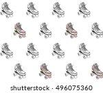 retro rollers seamless pattern | Shutterstock .eps vector #496075360
