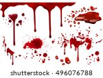 dripping blood isolated on... | Shutterstock .eps vector #496076788