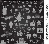 halloween set | Shutterstock .eps vector #496077556