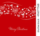 vintage merry christmas and... | Shutterstock . vector #496077568