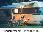 travel trailer caravaning. rv... | Shutterstock . vector #496080748