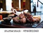mixed grilled meat platter.... | Shutterstock . vector #496081060