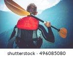 kayak trip ready. kayaker...   Shutterstock . vector #496085080
