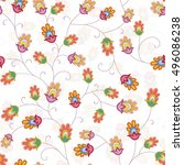 abstract seamless floral vector ... | Shutterstock .eps vector #496086238