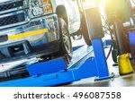 car wheel alignment check.... | Shutterstock . vector #496087558