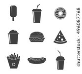 set fast food vector icons... | Shutterstock .eps vector #496087768