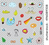 set of patches elements like... | Shutterstock .eps vector #496089508