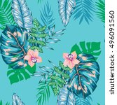 vector seamless bright artistic ... | Shutterstock .eps vector #496091560