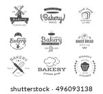 set of bakery labels  icons ... | Shutterstock . vector #496093138