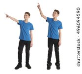 cute teenager boy in blue t... | Shutterstock . vector #496094590