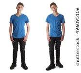 cute teenager boy in blue t... | Shutterstock . vector #496095106