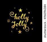 christmas calligraphy....   Shutterstock .eps vector #496096384