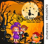 cute colorful halloween kids in ... | Shutterstock .eps vector #496100470